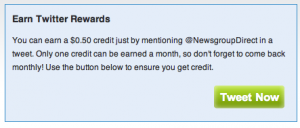 NewsgroupDirect Twitter Rewards