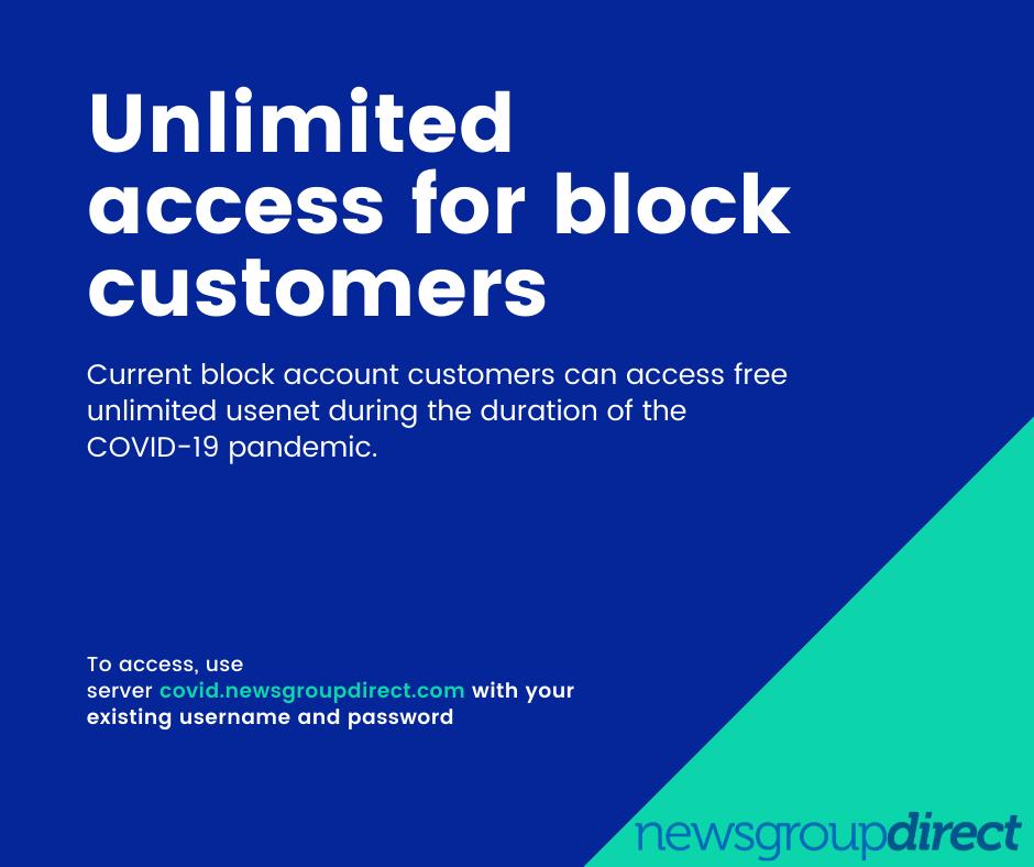 COVID-19 Free Usenet Access
